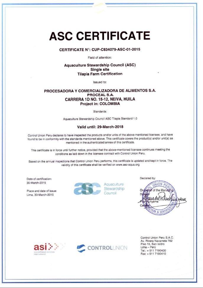 Certificates Aquabest Seafood Fresh Tilapia Rainbow Trout