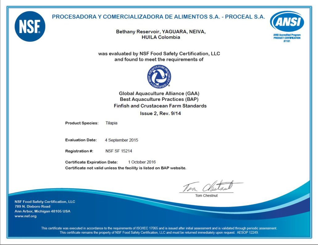 Certificates - AQUABEST SEAFOOD | Fresh Tilapia & Rainbow Trout